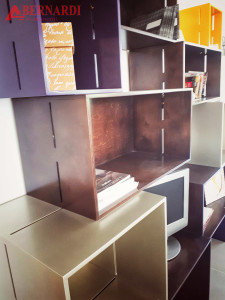 libreria a cubi in legno
